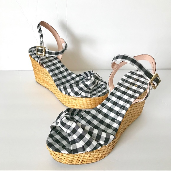 7620c54e80 kate spade Shoes | Tilly Gingham Wedges Size 95m | Poshmark